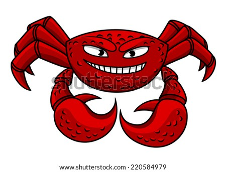 Funny cartoon red crab character isolated on white for seafood or sea life concept - stock vector