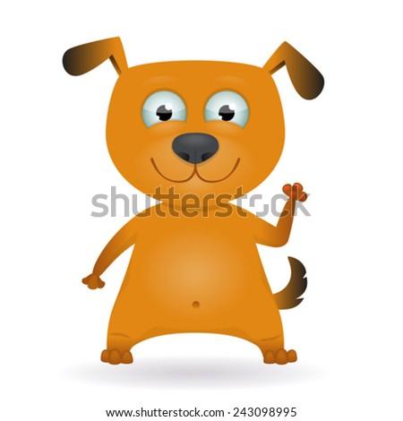 Funny cartoon red dog. Vector Illustration - stock vector
