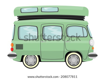 Funny cartoon retro van or small bus. Vector