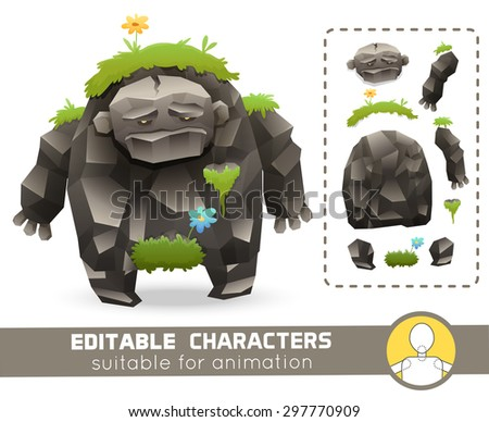 Funny cartoon rock monster with grass on his body editable elemental character. Suitable for animation, video and games.You can change color, position of body parts, dress and size.Vector illustration