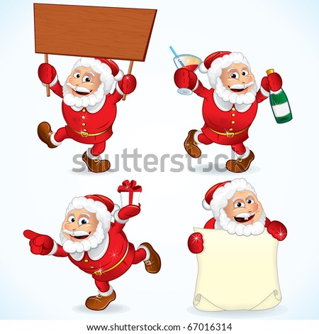 Funny Cartoon Santa Claus Illustrations Set Stock Vector 67016314 ...