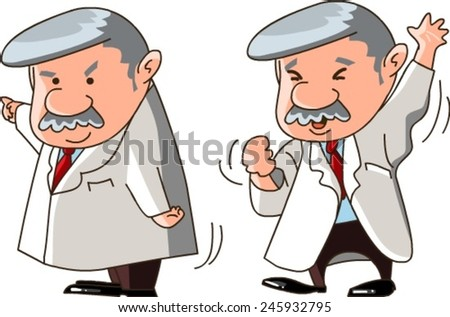 funny cartoon scientist isolated on white background - stock vector