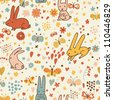Funny cartoon seamless pattern for children background. Rabbits and butterflies - stock photo
