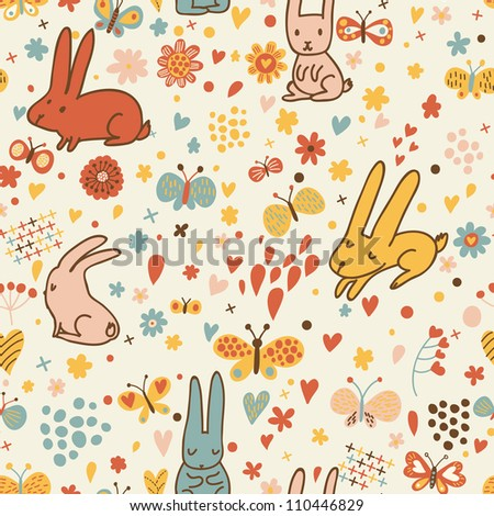 Funny cartoon seamless pattern for children background. Rabbits and butterflies - stock vector