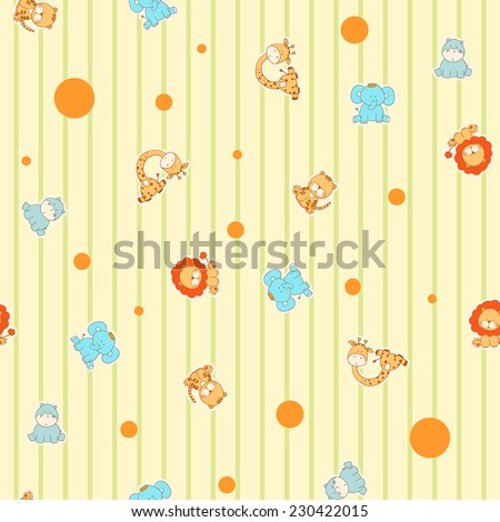 Funny cartoon seamless pattern with African animals - stock vector