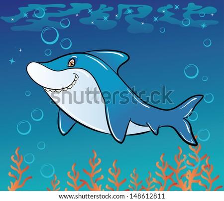 Funny cartoon shark in the sea - stock vector