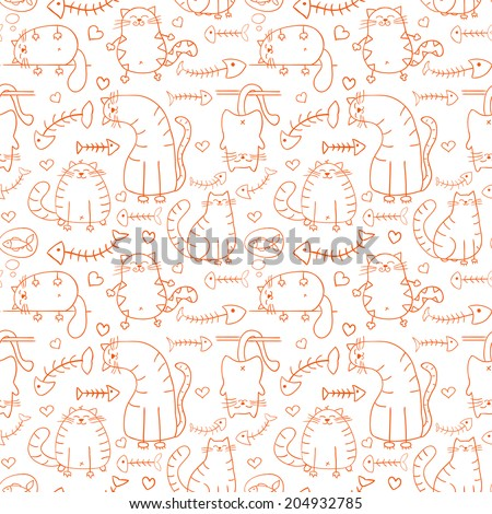 Funny cartoon sketch cats with  fish skeletons seamless pattern background  - stock vector