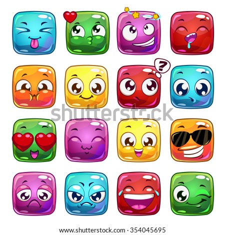 Funny cartoon square jelly characters, vector emoticon icons, isolated on white - stock vector