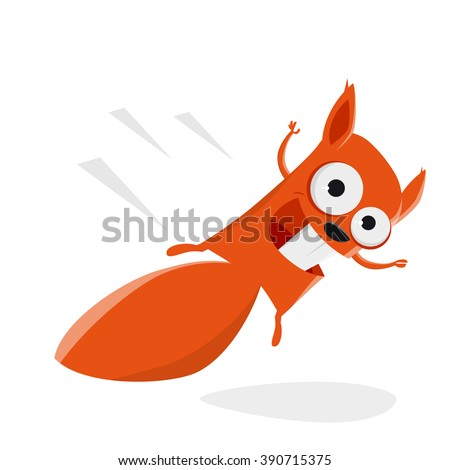 funny cartoon squirrel is flying - stock vector