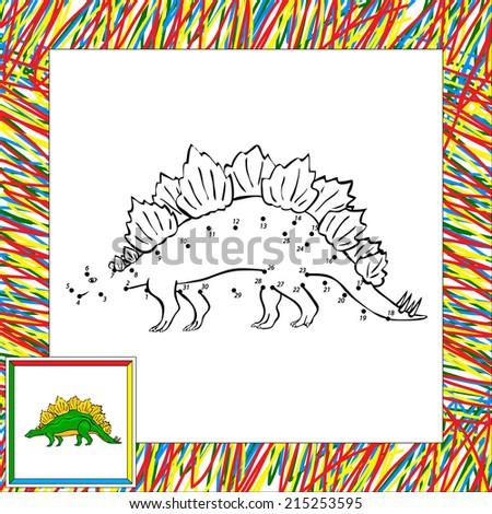 Funny cartoon stegosaurus. Coloring book for children dot to dot - stock vector