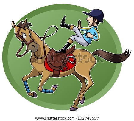 Funny cartoon-style illustration: a rider is unsaddled from his galloping horse. Green oval shape on the background