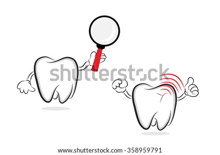 Funny cartoon teeth with magnifier and inflammation as concept for oral care. Vector illustration - stock vector