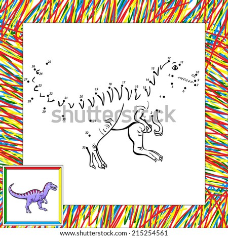 Funny cartoon tyrannosaur. Coloring book for children dot to dot - stock vector