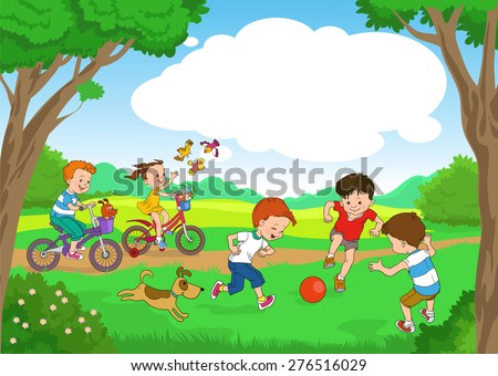 Funny cartoon. Vector illustration. Funny kids ride bikes along the forest summer day. joyful kids play ball on the lawn.  - stock vector