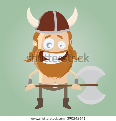 funny cartoon viking - stock vector