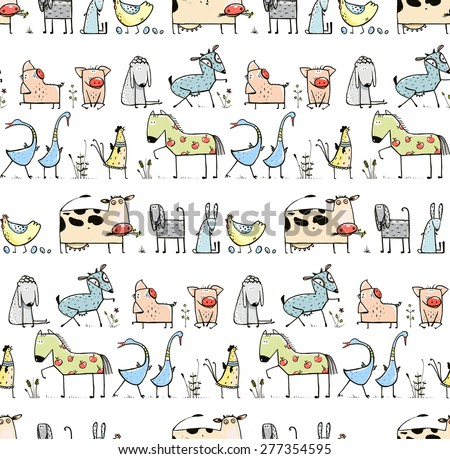 Funny Cartoon Village Domestic Animals Seamless Pattern Background for Kids. Countryside cottage animals illustration for children. Vector EPS10. - stock vector