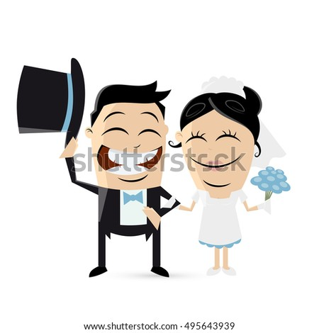 funny cartoon wedding couple