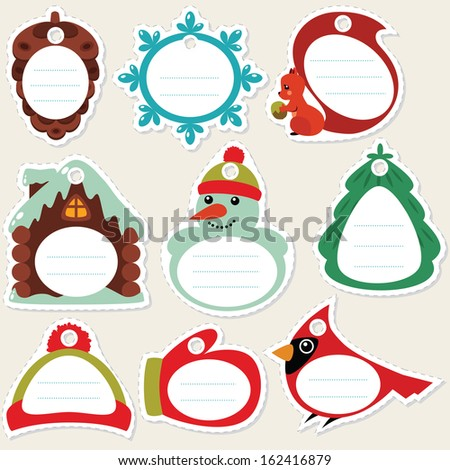 Funny cartoon winter gift tags. Some blank space for your text included. - stock vector