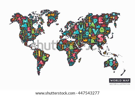 Funny cartoon world map alphabet letters stock vector 447543277 funny cartoon world map with alphabet letters and design abstract elements vector illustration gumiabroncs Images
