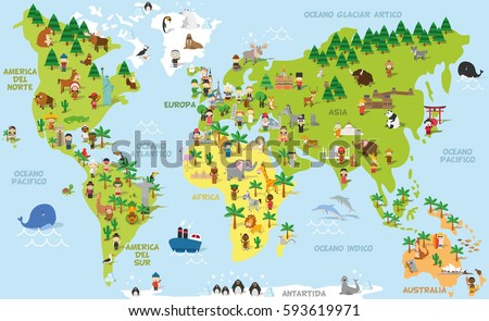 Funny cartoon world map children different stock vector hd royalty funny cartoon world map with children of different nationalities animals and monuments of all the gumiabroncs Image collections