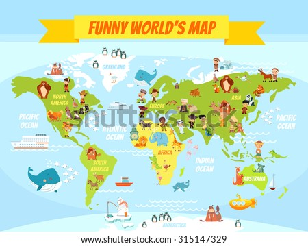 Funny cartoon world map with people of various nationalities and animals. Vector illustration for preschool education and kids design - stock vector