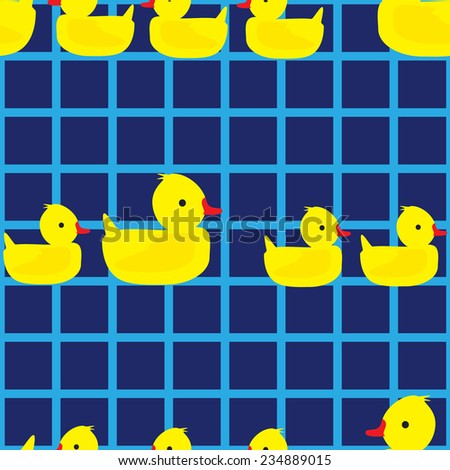 funny cartoon yellow duck on a background of cells.seamless pattern - stock vector