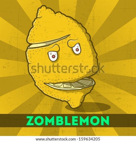 Funny cartoon zombie yellow monster lemon on the scratchy retro