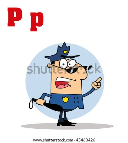 Funny Cartoons Alphabet-Cop With Letters C - stock vector