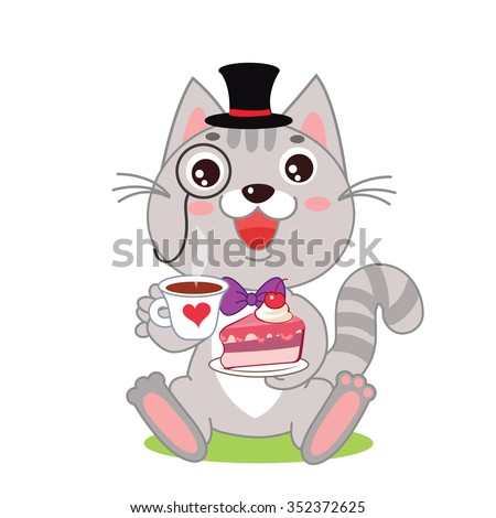 Funny Cat In Bowler Hat And Monocle And Cake In His Hands. Vector Cartoon Animals Illustration.Funny Cartoon Gentleman.