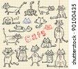 Funny cat's sketch set, vector illustration, eps10 - stock vector