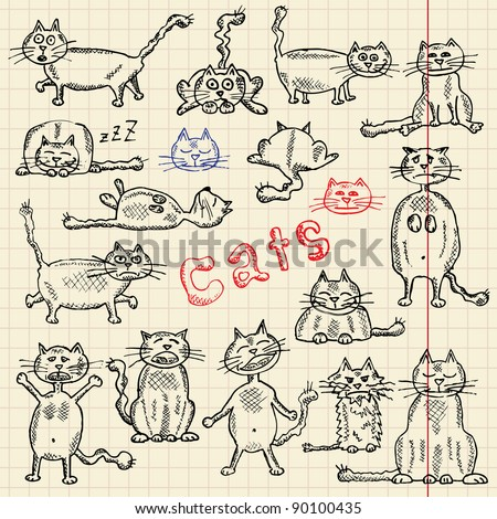 Funny cat's sketch set, vector illustration, eps10 - stock vector