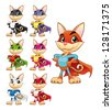 Funny cat super hero. Vector cartoon isolated characters - stock vector