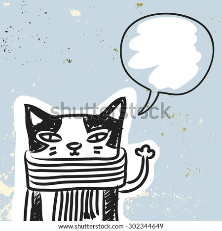 Funny Cat with blank, empty speak balloon, hand drawn doodle vector illustration - stock vector
