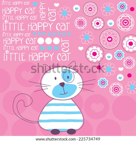 funny cat with flowers vector illustration - stock vector