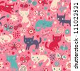 Funny cats. Cartoon seamless pattern for children background. Colorful wallpaper with cats, butterflies and flowers - stock vector