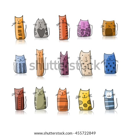 Funny cats collection, sketch for your design - stock vector