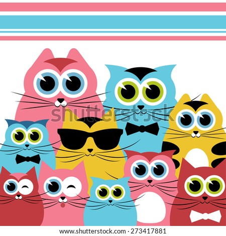 Funny cats family - stock vector