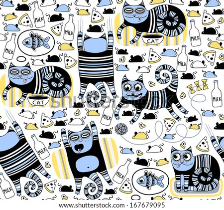 Funny cats seamless background - stock vector