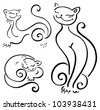 Funny cats sketch collections. Vector illustration isolated - stock photo