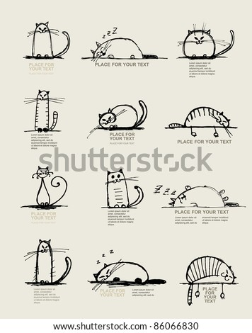 Funny cats sketch, design with place for your text - stock vector