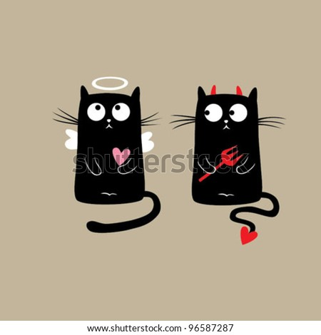 Funny Cats. Vector illustration - stock vector