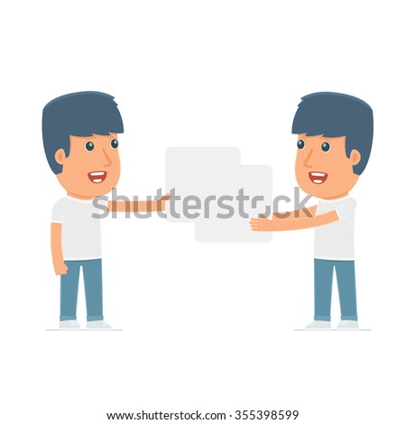 Funny Character Activist holds and interacts with blank forms or objects. for use in presentations, etc. - stock vector