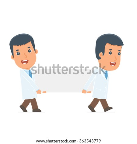 Funny Character Doctor holds and interacts with blank forms or objects. Poses for interaction with other characters from this series - stock vector