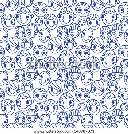 funny character doodle seamless pattern - stock vector