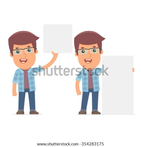 Funny Character Freelancer holds and interacts with blank forms or objects. for use in presentations, etc. - stock vector