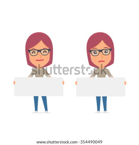 Funny Character Girl Designer holds and interacts with blank forms or objects. for use in presentations, etc. - stock vector