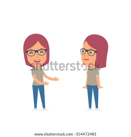 Funny Character Girl Designer introduces his shy friend. Poses for interaction with other characters from this series - stock vector