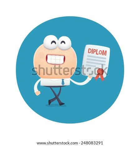 funny character graduated and received the diploma education. cartoon illustration. - stock vector