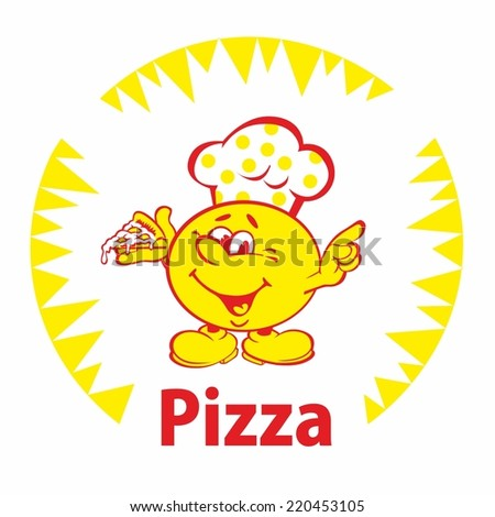funny character in a chef's hat, holding a pizza, and shows the hand OK sign - stock vector