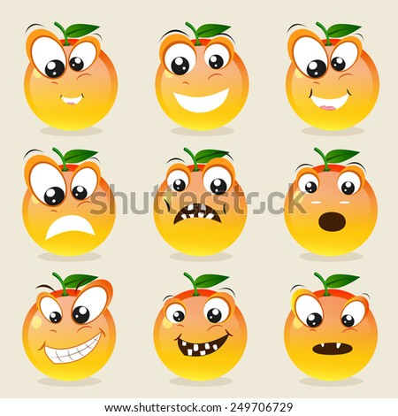 Funny character of orange showing different facial expressions on beige background. - stock vector